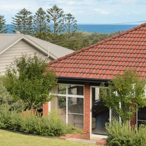 Ocean views from backyard of Southerly Change, Gerroa holiday house