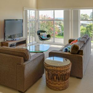 Gerroa holiday house Southerly Change living room views