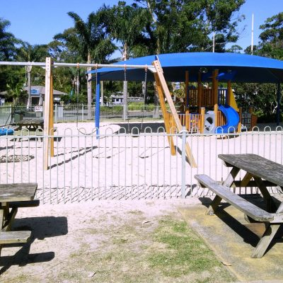 Holiday Park Playground fully fenced next to Seven Mile Beach kiosk