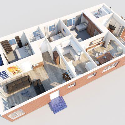 3D Floorplan eastern view