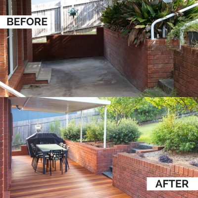 Southerly Change Gerroa accommodation back deck before & after