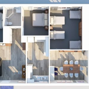 3D Floorplan of Southerly Change, holiday rental house accommodation at Gerroa