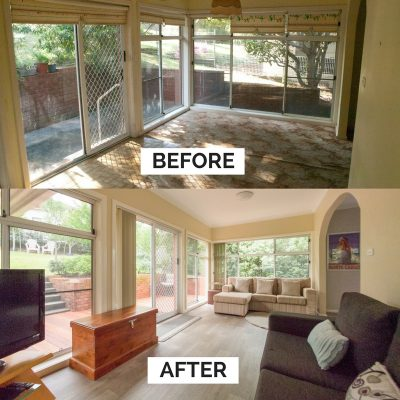 Sunroom Before and After at Southerly Change, holiday house rental accommodation at Gerroa, Seven Mile Beach
