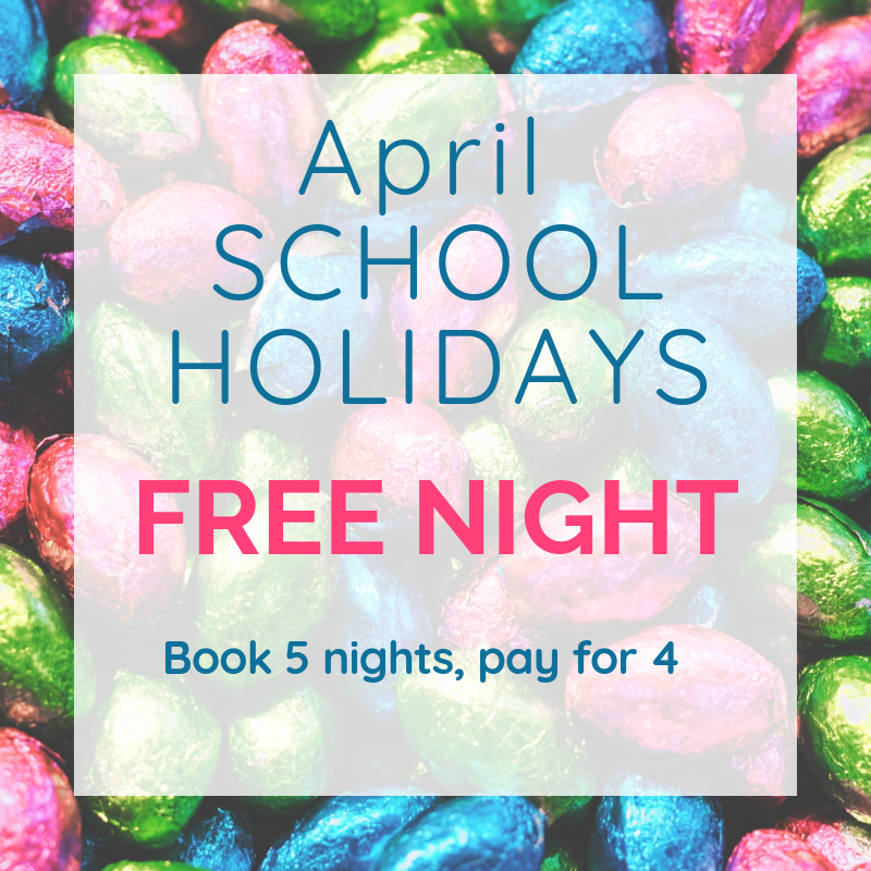 April School Holidays free night; book 5 nights, pay for 4.