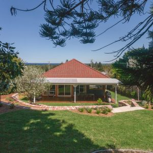 Back yard with views at Southerly Change, Gerroa accommodation at Seven Mile Beach NSW