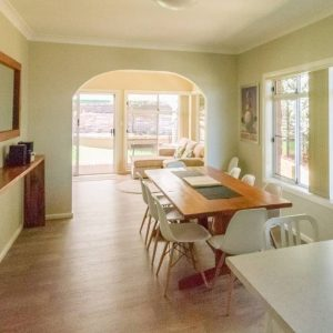 Open dining room at Southerly Change, Gerroa holiday house accommodation at Seven Mile Beach, NSW