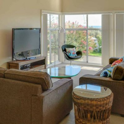 Living room views at Southerly Change, holiday house accommodation at Seven Mile Beach, NSW