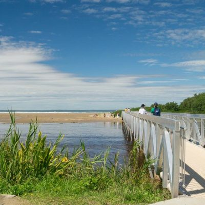 Take the footbridge to the sands of seven mile beach gerroa