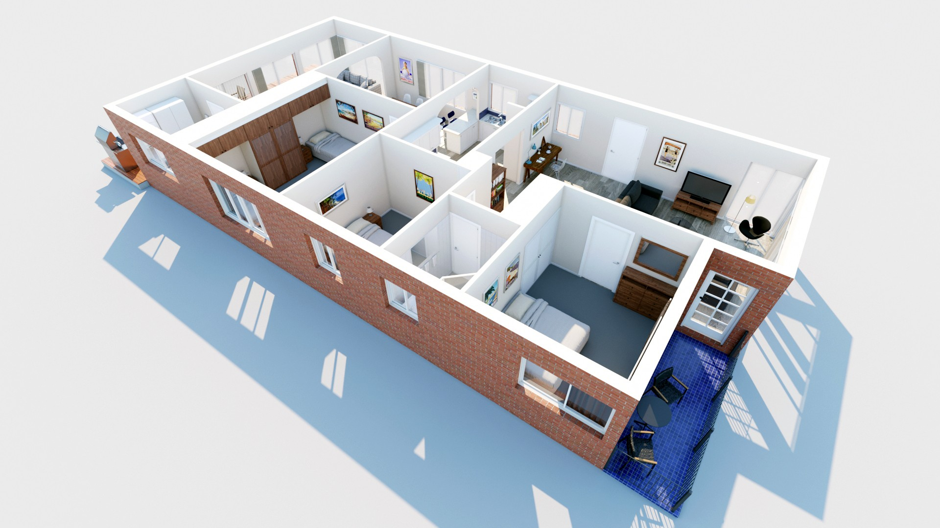 Alternative angled floorplan of Southerly Change, spacious family accommodation Gerroa