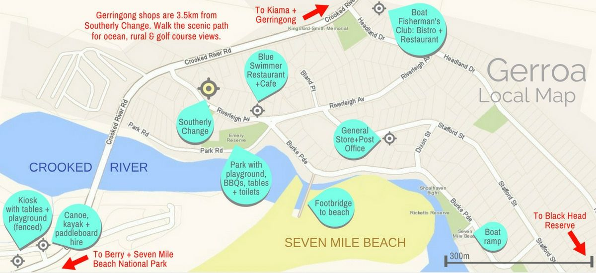 Local Gerroa map includes Seven Mile Beach & Crooked River
